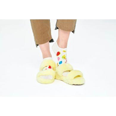 Bílé nízké ponožky Happy Socks s ovocem, vzor Fruit