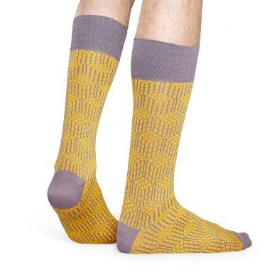 Žluto-fialové ponožky Happy Socks, vzor Geometric // KOLEKCE DRESSED