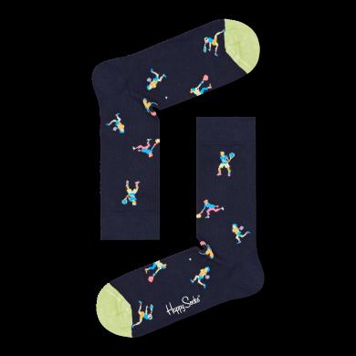 Modré ponožky Happy Socks s tenisty, vzor Game Set
