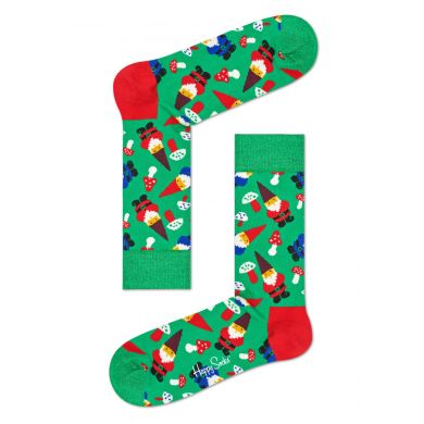 Zelené ponožky Happy Socks se skřítky, vzor Garden Gnome