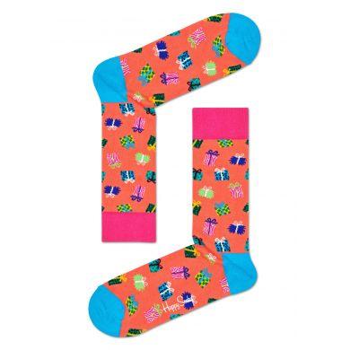 Oranžové ponožky Happy Socks s dárečky, vzor Gift