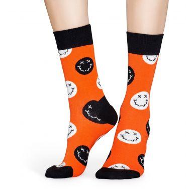Červené ponožky Happy Socks se smajlíky, vzor Halloween Smiley
