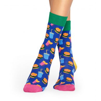 Modré ponožky Happy Socks s barevným vzorem Hamburger