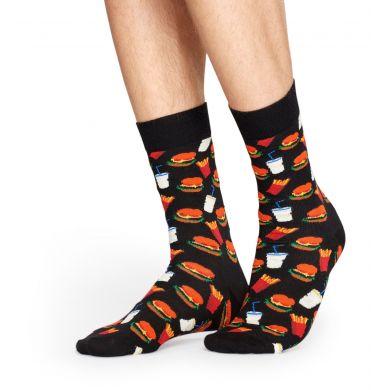 Černé ponožky Happy Socks s barevným vzorem Hamburger