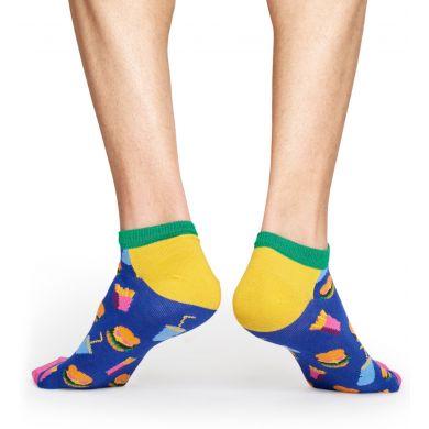 Nízké modré ponožky Happy Socks, vzor Hamburger