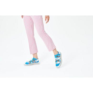 Modré nízké ponožky Happy Socks, vzor Hamburger