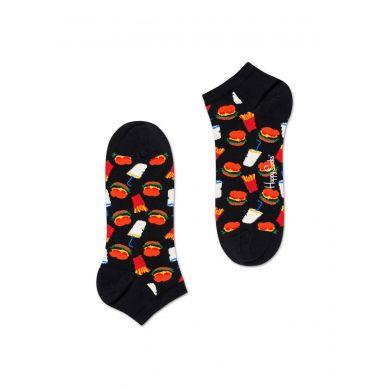 Nízké černé ponožky Happy Socks, vzor Hamburger