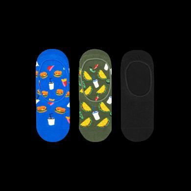 Nízké ponožky Happy Socks, vzor Hamburger - 3 páry