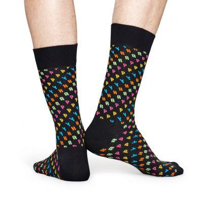 Černé ponožky Happy Socks s barevnými písmenky H A P P Y