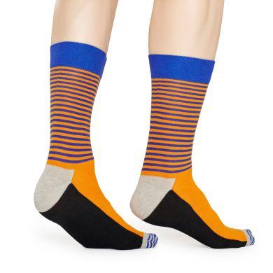 Oranžové ponožky Happy Socks s pruhy, vzor Half Stripe