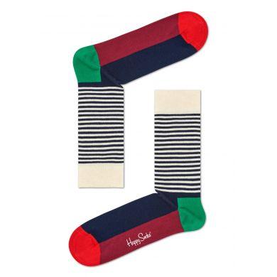 Barevné (červeno-bílé) ponožky Happy Socks s proužky, vzor Half Stripe