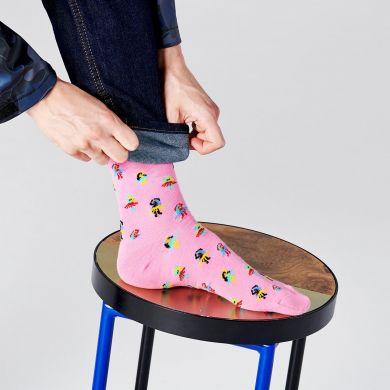 Růžové ponožky Happy Socks s tanečnicemi, vzor Hula