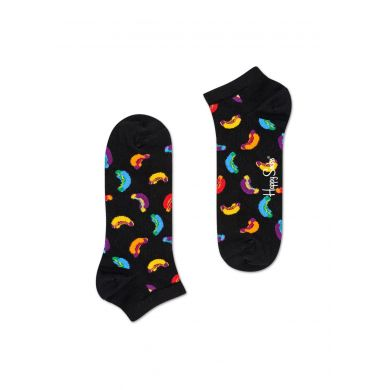 Nízké černé ponožky Happy Socks, vzor Hotdog