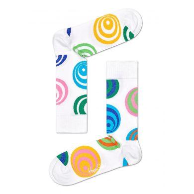 Bílé ponožky Happy Socks s barevnými kruhy, vzor Hypnosis