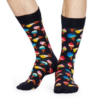 Modré ponožky Happy Socks se zmrzlinami, vzor Ice Cream