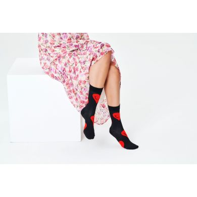Černé ponožky Happy Socks s červenými srdci, vzor Jumbo Smiley Heart