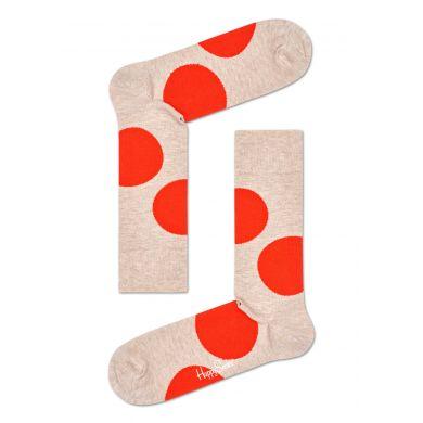 Béžové ponožky Happy Socks s velkými červenými puntíky, vzor Jumbo Dot