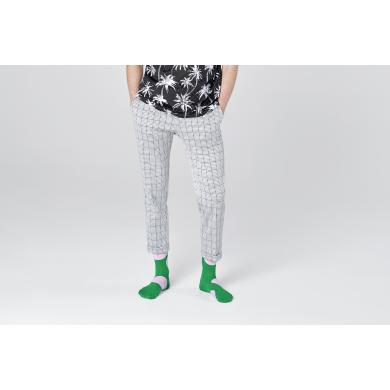 Zelené ponožky Happy Socks s velkými růžovými puntíky, vzor Jumbo Dot