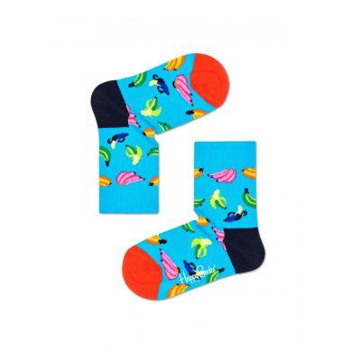 Dětské modré ponožky Happy Socks s banány, vzor Banana