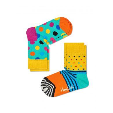 Dětské tyrkysové ponožky Happy Socks, dva páry – vzory Stripe Dot a Big Dot