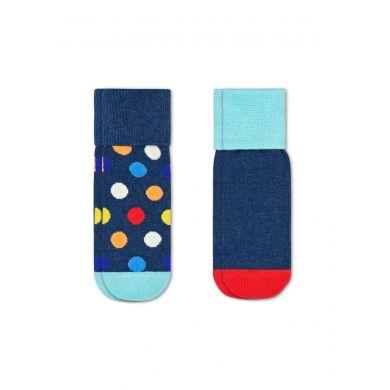 Dětské modré protiskluzové ponožky Happy Socks s barevnými puntíky, vzor Big Dot - dva páry