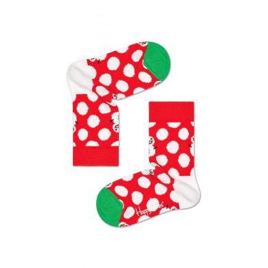Dětské červené ponožky Happy Socks s bílými puntíky a sněhuláky, vzor Big Dot Snowman