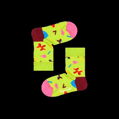 Dětské zelené ponožky Happy Socks s balónky, vzor Birthday Balloons