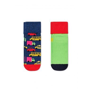 Dětské protiskluzové ponožky Happy Socks s autíčky, vzor Cars - dva páry
