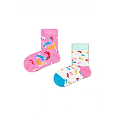 Dětské ponožky Happy Socks s kočkami a rybími kostřičkami, vzor Cat - dva páry