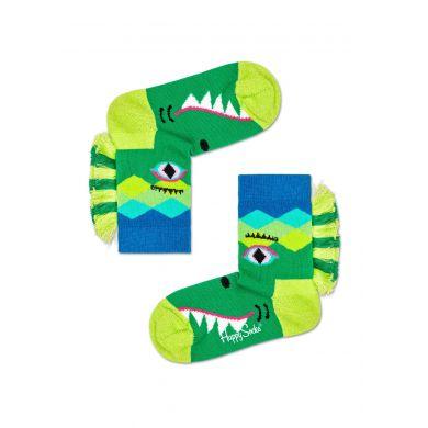 Dětské zelené ponožky Happy Socks s motivem krokodýla, vzor Crazy Crocodile