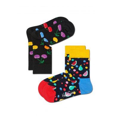 Dětské černé ponožky Happy Socks s barevným ovocem, vzor Cherry - dva páry