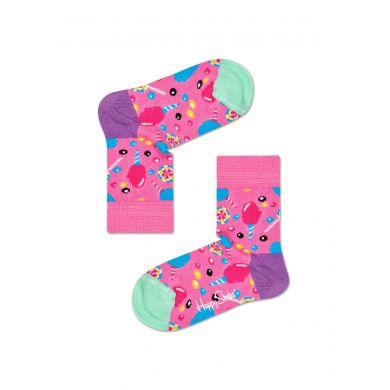 Dětské růžové ponožky Happy Socks s cukrátky, vzor Cotton Candy