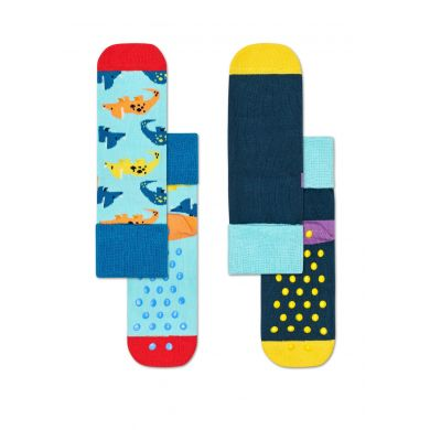 Dětské protiskluzové ponožky Happy Socks s dinosaury, vzor Dinosaur - dva páry
