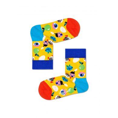 Dětské žluté ponožky Happy Socks s velikonočním motivem, vzor Fantasy Egg
