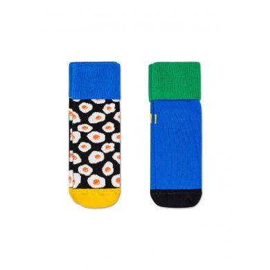 Dětské modré protiskluzové ponožky Happy Socks s vajíčky, vzor Sunny Side Up - dva páry