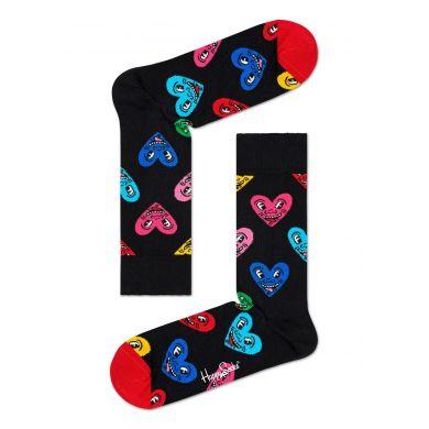 Černé ponožky z kolekce Happy Socks x Keith Haring, vzor Heart