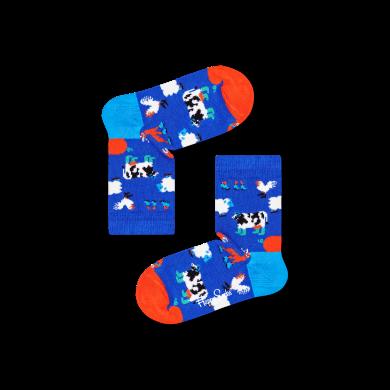 Dětské modré ponožky Happy Socks, vzor Farmcrew