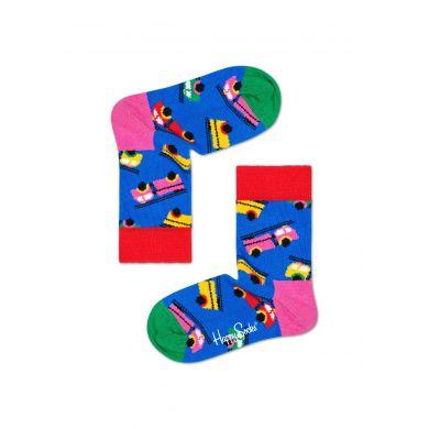 Dětské modré ponožky Happy Socks s hasičským vozem, vzor Fire Truck