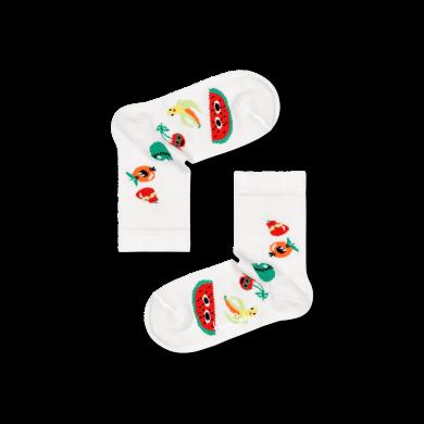 Dětské bílé ponožky Happy Socks s ovocem, vzor Fruit Tower