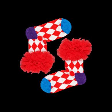 Dětské červeno-bílé ponožky Happy Socks s tylovým lemem, vzor Harlequin