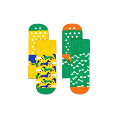 Dětské protiskluzové ponožky Happy Socks se psy a kostičkami, vzor Dog - dva páry