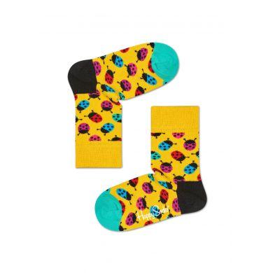 Dětské žluté ponožky Happy Socks s barevnými beruškami, vzor Ladybird