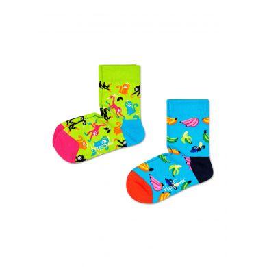 Dětské ponožky Happy Socks s opičkami a banány, vzor Banana - dva páry