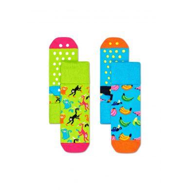 Dětské protiskluzové ponožky Happy Socks s opičkami a banány, vzor Banana - dva páry