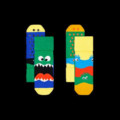 Dětské protiskluzové ponožky Happy Socks s příšerkami, vzor Monsters - 2 páry