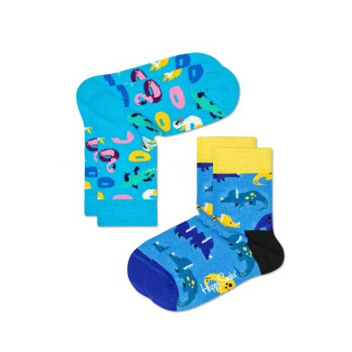 Dětské modré ponožky Happy Socks, vzor Poolparty - dva páry