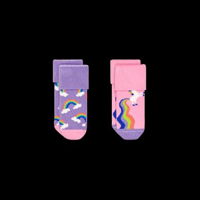 Dětské ponožky Happy Socks pro miminka, vzor Rainbow & Unicorn - 2 páry