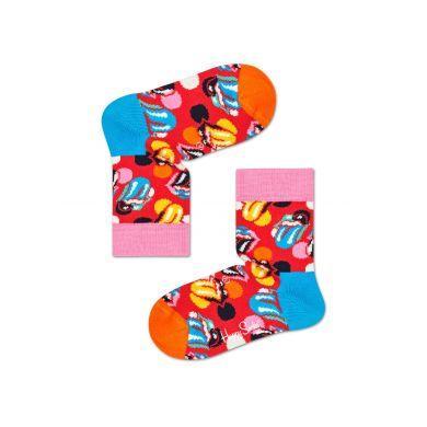 Červené ponožky s logem vypláznutého jazyka z kolekce Happy Socks x Rolling Stones, vzor Stripe Me Up