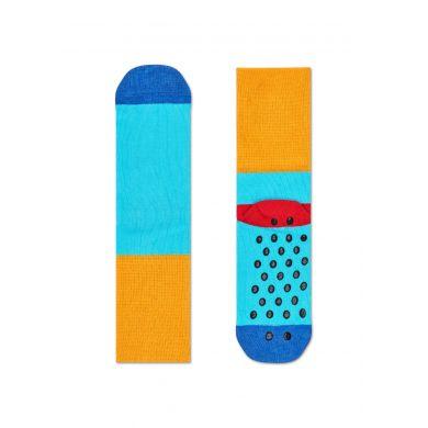 Dětské modro-žluté ponožky Happy Socks s barevnými pruhy, vzor Stripe - dva páry