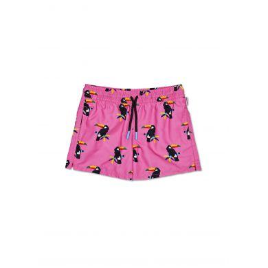 Dětské růžové plavky Happy Socks s tukanem, vzor Toucan